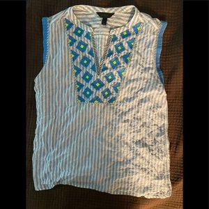 JCrew embroidered stripped tank